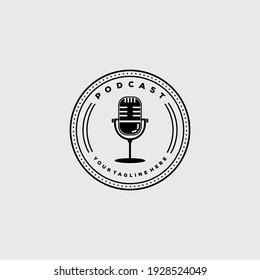vintage podcast icon. music radio logo vector illustration design