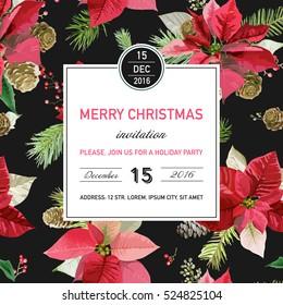 Vintage Poinsettia Christmas Invitation Card. Winter Background, Poster, Design. Vector