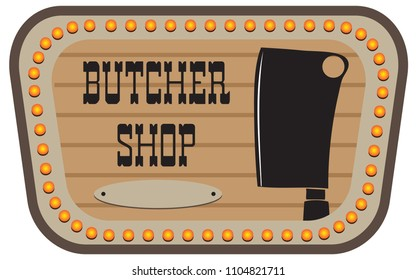 Vintage pointer for butcher shop. Vector illustration.