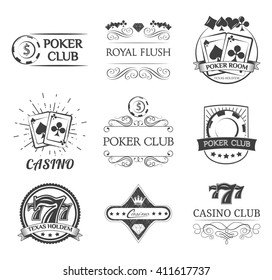 Vintage poker label. Filigree ornate frame. Casino and poker chip.Playing card. Gambling.