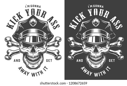 Vintage policeman emblem concept with skull in police hat and crossed bones in monochrome style isolated vector illustration
