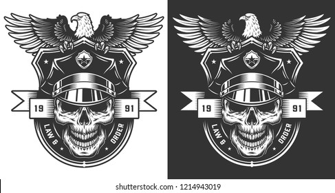 Vintage policeman label concept with skull in police hat and eagle sitting on it in monochrome style isolated vector illustration