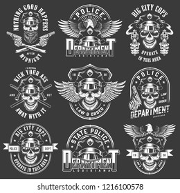 Vintage policeman logos collection with skulls wearing police hat sunglasses pistols batons inscriptions eagle in monochrome style isolated vector illustration
