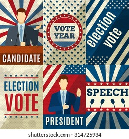 Vintage politics mini posters set with election candidates figures isolated vector illustration