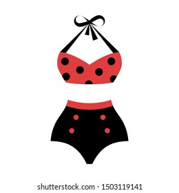 Vintage polka dot swimsuit. Isolated vector illustration