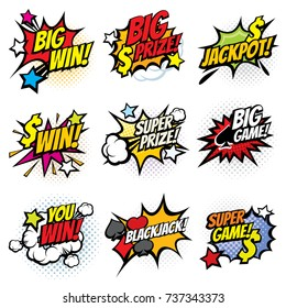 Vintage pop art comic bubbles with gambling winning words vector set. Win prize and jackpot in game illustration