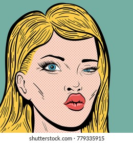 Vintage Pop Art Illustration with Blonde Woman's Face with mouth like a Cupid's bow and Winking with the Eye. Comic Book Close-Up Girl Face Expressing the Desire. Valentines Day card in Retro Style.