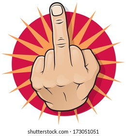 Vintage Pop Art Middle Finger Hand Sign. Great illustration of Pop Art comic book style Middle Finger Up hand sign.