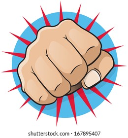 Vintage Pop Art Punching Fist. Great illustration of pop Art comic book style punching directly at you.
