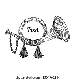 Vintage post horn. Sketch. Engraving style. Vector illustration.