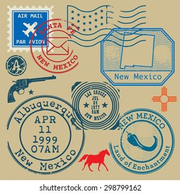 Vintage post stamps set with name of New Mexico, United States, vector illustration