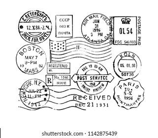Vintage-Briefmarkensammlung mit Vektorstempeln