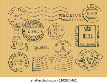 vintage postage stamps collection of vector stamps