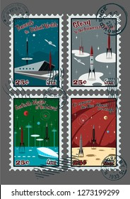 Vintage Postage Stamps Mid Century Modern Space Posters Style