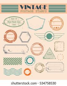 Vintage postal set. Air mail. Light subdued tone of colour. Colourful decorative elements for your design.