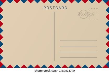 Vintage postcard back. Empty grey postal card background