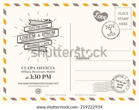 Postcard Invitation Template | Vintage Postcard Background Vector Template Wedding Stock