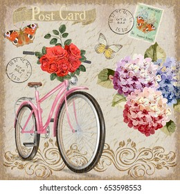 Vintage postcard with bicycler and flowers