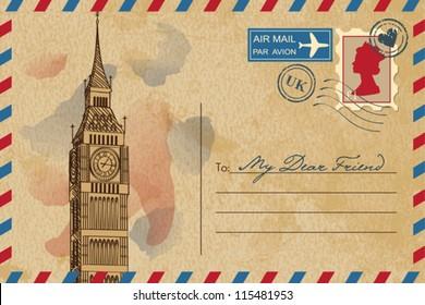Vintage postcard with Big Ben