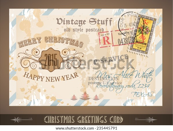Vintage Postcard Christmas Greetings Cards Postage Stock Vector