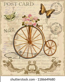 Vintage postcard with flowers,butterfly and old bicycle.