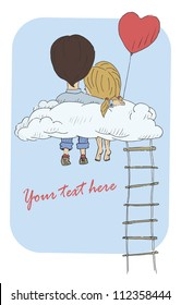 A vintage postcard with a loving couple sitting on a cloud. Vector illustration
