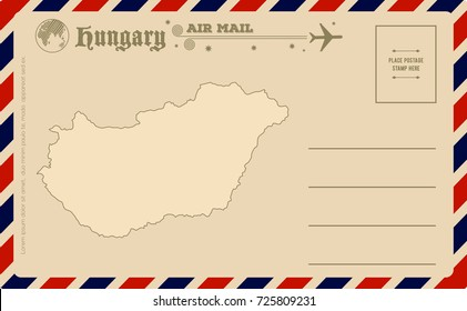 Vintage postcard with map of Hungary