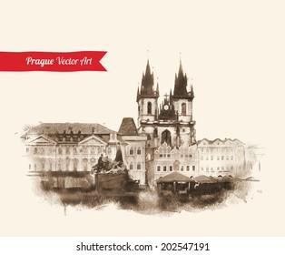 Vintage postcard with Old Prague view. Czech Republic. Watercolor textured art. Vector illustration.