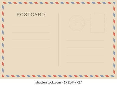 Vintage postcard with paper texture. Travel postcard template. Postal card design. Blank vector post card.