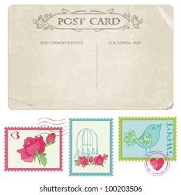 Vintage Postcard and Postage Stamps - for wedding design, invitation, congratulation, scrapbook