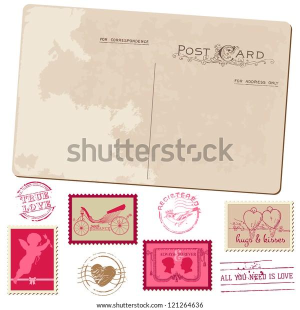 Vintage Postcard Postage Stamps Wedding Design Stock Vector