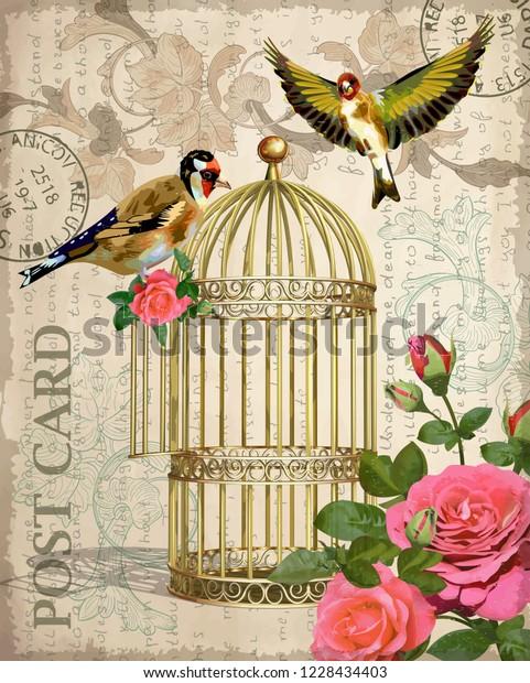 Vintage Postcard Rosesbird Bird Cage Stock Vector (Royalty