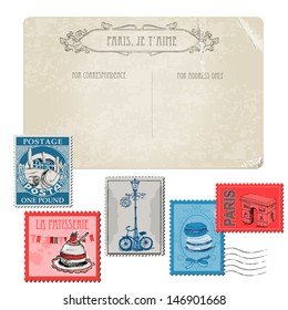 Vintage Postcard with Set of Stamps. Paris and France in vector