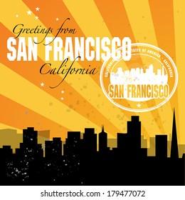 Vintage postcard stamp with name of California, San Francisco, vector illustration