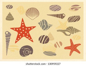 Vintage postcard with summer and sea related elements 5