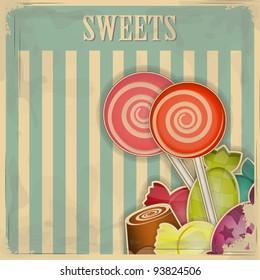 vintage postcard - sweet candy on striped background - vector illustration