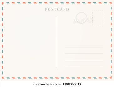 Vintage postcard template. Postal card illustration for design