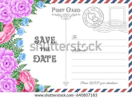 Vintage Postcard Wedding Invitation Template Flowers Stock