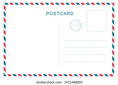 Vintage postcard with white paper texture. Travel postcard template. Postal card design. Blank vector post card.