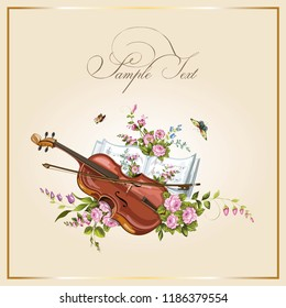 Vintage postcards with beautiful flowers, musical instruments, butterfly and notes. Vector illustration.
