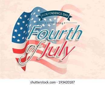 Vintage poster, banner or flyer design with stylish text Fourth of July on American flag waving background for Independence Day.