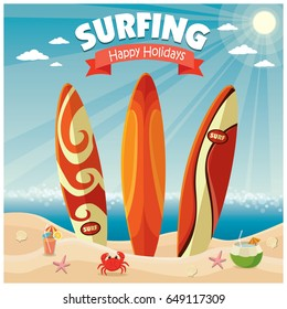 Vintage poster beach design with surf board.