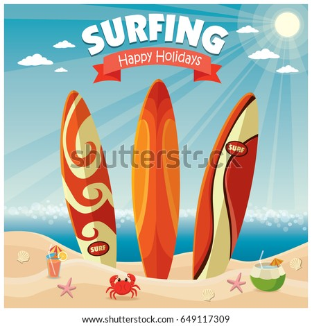 vintage poster beach design surf board のベクター画像素材