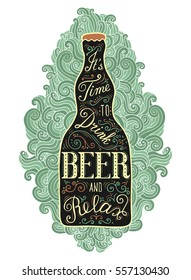 Vintage poster with bottle of beer. EPS 10 vector food and drink concept illustration. Retro style  lettering placard. Isolated on the doodle background.