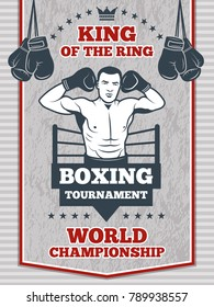 Vintage poster for boxing or sport club. Fitness center illustration. Boxing poster competition with boxer man vector
