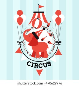 Vintage poster for the circus. Silhouette circus tent and elephant. Vector