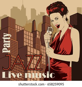 Vintage poster with cityscape and retro woman singer. Red dress on woman. Retro microphone. Jazz, soul and blues live music concert poster.