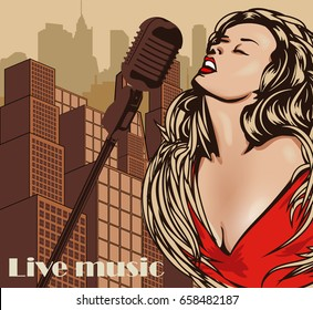 Vintage poster with cityscape, retro woman singer. Red dress on woman. Retro microphone. Jazz, soul and blues live music concert poster.