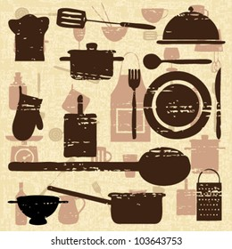 Vintage poster with cooking elements