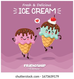 Vintage poster design with vector ice cream character.